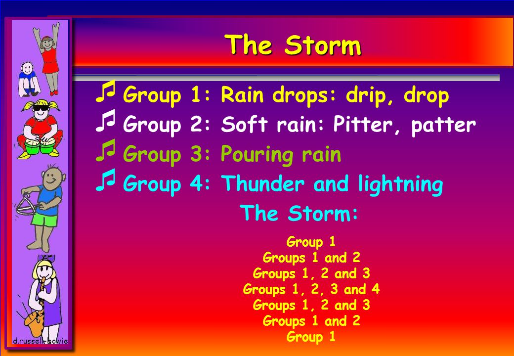 d.russell-bowie The Storm  Group 1: Rain drops: drip, drop  Group 2: Soft rain: Pitter, patter  Group 3: Pouring rain  Group 4: Thunder and lightning The Storm: Group 1 Groups 1 and 2 Groups 1, 2 and 3 Groups 1, 2, 3 and 4 Groups 1, 2 and 3 Groups 1 and 2 Group 1