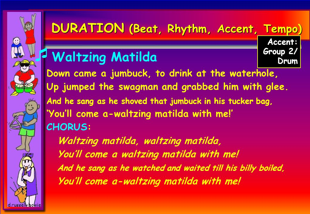 d.russell-bowie DURATION (Beat, Rhythm, Accent, Tempo)  Waltzing Matilda Down came a jumbuck, to drink at the waterhole, Up jumped the swagman and grabbed him with glee.