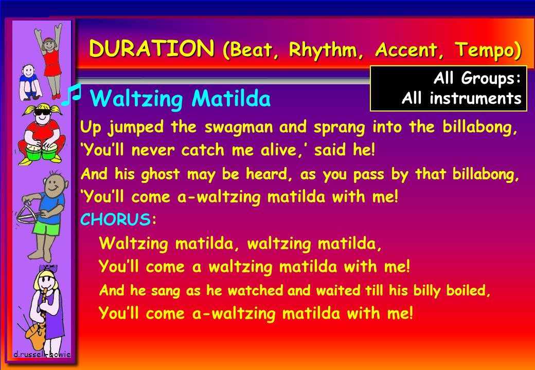 d.russell-bowie DURATION (Beat, Rhythm, Accent, Tempo)  Waltzing Matilda Up jumped the swagman and sprang into the billabong, 'You'll never catch me alive,' said he.