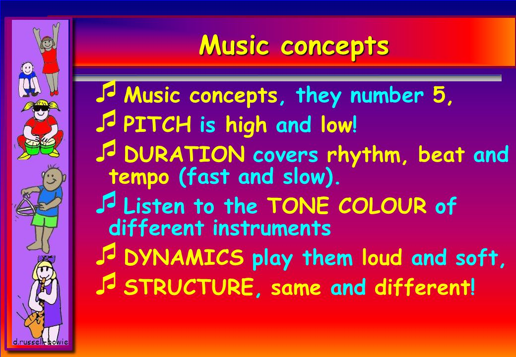 d.russell-bowie Music concepts  Music concepts, they number 5,  PITCH is high and low.