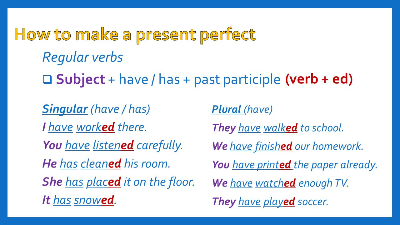 Verbs ending in an –'e' (live, close, wipe)  Subject + have / has + past participle  I have lived here for a long time now.