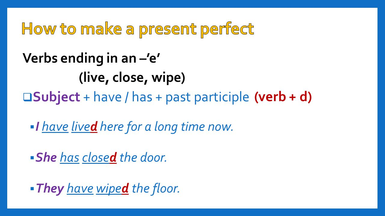 Verbs ending in an –'y' (spy, study, carry)  Subject + have /has + past participle  He has spied on his brother.
