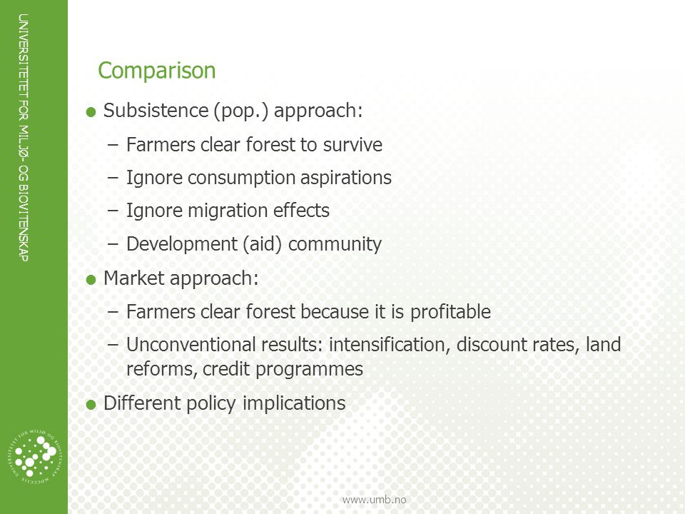UNIVERSITETET FOR MILJØ- OG BIOVITENSKAP www.umb.no Extension of market approach  Homesteading, land races  Constraints at the farm level  Several farming systems  Environmental effects  Costs of property rights