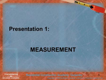 1 Presentation 1: MEASUREMENT. 2 Measurement Systems English System uses yards, feet, inches, and fractions. Metric System uses meters, decimeters, centimeters,