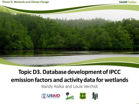 Topic D3. Database development of IPCC emission factors and activity data for wetlands Randy Kolka and Louis Verchot.