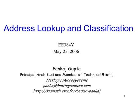 Address Lookup and Classification