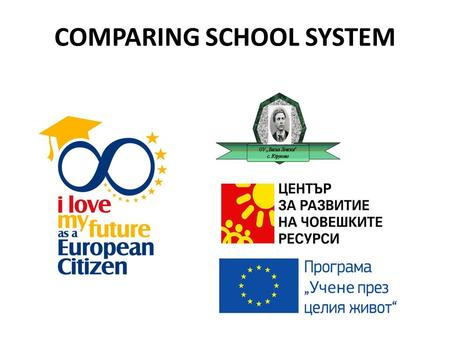 COMPARING SCHOOL SYSTEM. BULGARIA Beginning of school year: 15. 09 End of school year: 15. 06 Teacher total lessons per week: 20 h Length of the lessons: