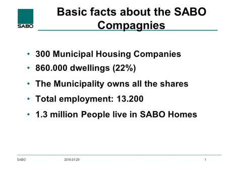 SABO2016-01-291 Basic facts about the SABO Compagnies 300 Municipal Housing Companies 860.000 dwellings (22%) The Municipality owns all the shares Total.