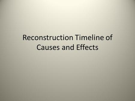 Reconstruction Timeline of Causes and Effects. President Lincoln issued the Emancipation Proclamation All slaves in the Southern States became free. Primary.