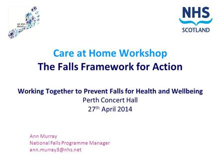 Care at Home Workshop The Falls Framework for Action Working Together to Prevent Falls for Health and Wellbeing Perth Concert Hall 27 th April 2014 Ann.
