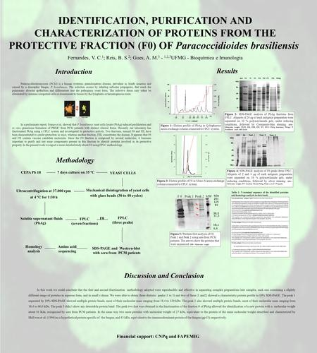 IDENTIFICATION, PURIFICATION AND CHARACTERIZATION OF PROTEINS FROM THE PROTECTIVE FRACTION (F0) OF Paracoccidioides brasiliensis Fernandes, V. C. 1 ; Reis,