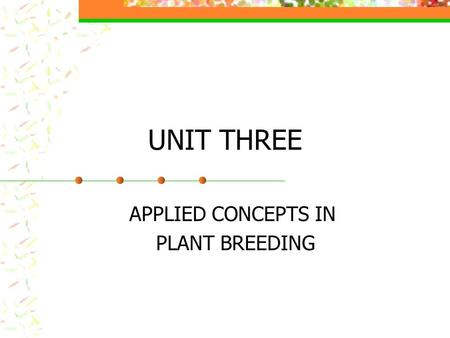 APPLIED CONCEPTS IN PLANT BREEDING