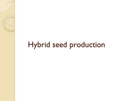 Hybrid seed production. What is hybrid cultivar?