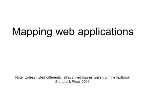 Mapping web applications Note: Unless noted differently, all scanned figures were from the textbook, Stuttard & Pinto, 2011.