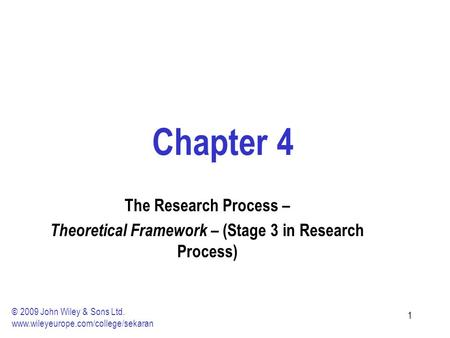 11 Chapter 4 The Research Process – Theoretical Framework – (Stage 3 in Research Process) © 2009 John Wiley & Sons Ltd. www.wileyeurope.com/college/sekaran.