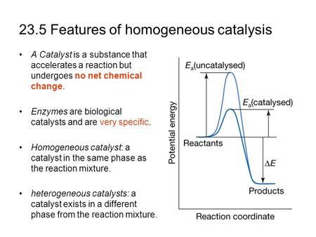 23.5 Features of homogeneous catalysis A Catalyst is a substance that accelerates a reaction but undergoes no net chemical change. Enzymes are biological.