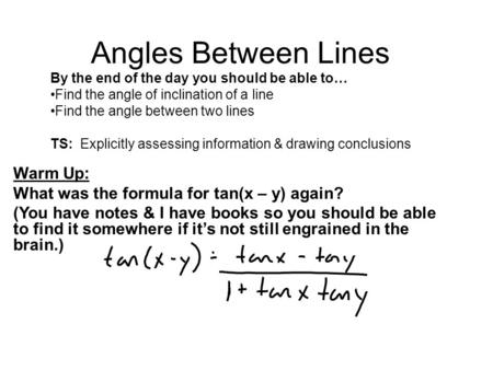 Angles Between Lines Warm Up: