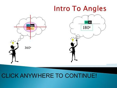 90 360 o CLICK ANYWHERE TO CONTINUE! HOME  The purpose of this study guide is to teach the definition of an angle and types of angles.