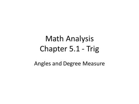 Math Analysis Chapter Trig