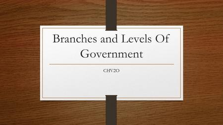 Branches and Levels Of Government