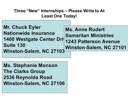 "Mr. Chuck Eyler Nationwide Insurance 1400 Westgate Center Drive Suite 130 Winston-Salem, NC 27103 Three ""New"" Internships – Please Write to At Least One."