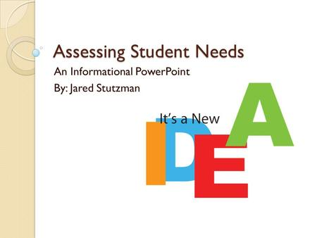 Assessing Student Needs An Informational PowerPoint By: Jared Stutzman.