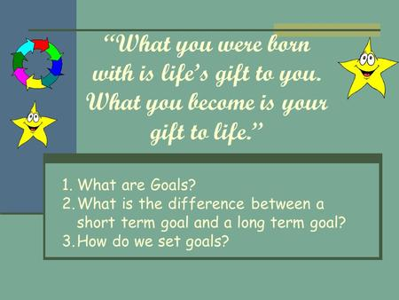 """What you were born with is life's gift to you. What you become is your gift to life."" 1.What are Goals? 2.What is the difference between a short term."