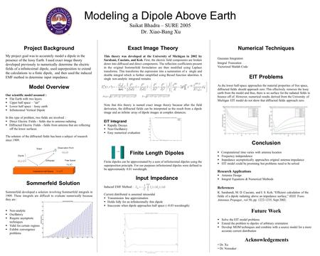 Project Background My project goal was to accurately model a dipole in the presence of the lossy Earth. I used exact image theory developed previously.