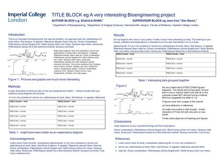 TITLE BLOCK eg A very interesting Bioengineering project AUTHOR BLOCK e.g. Shahid A KHAN, 1 SUPERVISOR BLOCK eg Jane Cox, 2 Dav Bansi, 1 1 Department of.