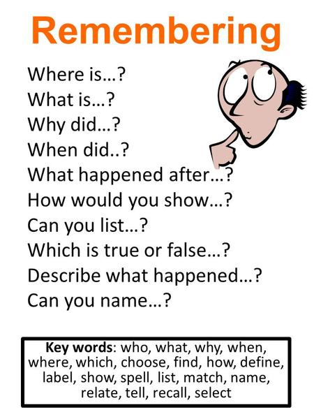 Remembering Key words: who, what, why, when, where, which, choose, find, how, define, label, show, spell, list, match, name, relate, tell, recall, select.