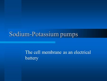 Sodium-Potassium pumps The cell membrane as an electrical battery.