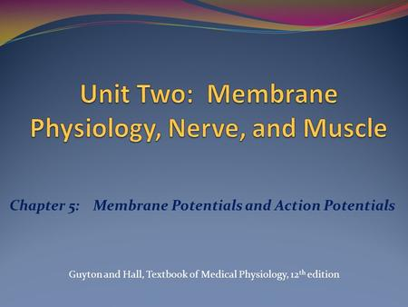 Chapter 5: Membrane Potentials and Action Potentials Guyton and Hall, Textbook of Medical Physiology, 12 th edition.
