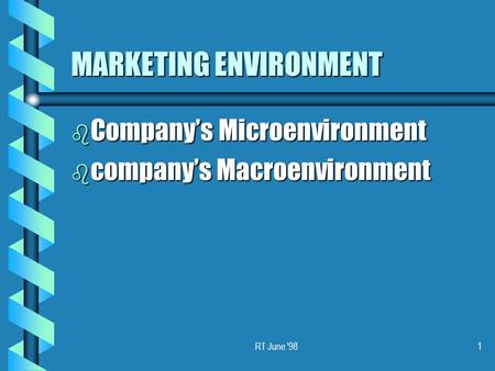 RT June '981 MARKETING ENVIRONMENT b Company's Microenvironment b company's Macroenvironment.