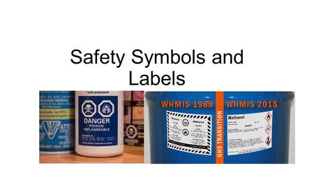 Safety Symbols and Labels. Types of Symbols WHMIS Workplace Hazardous Materials Information System HHPS Hazardous Household Product Symbols.