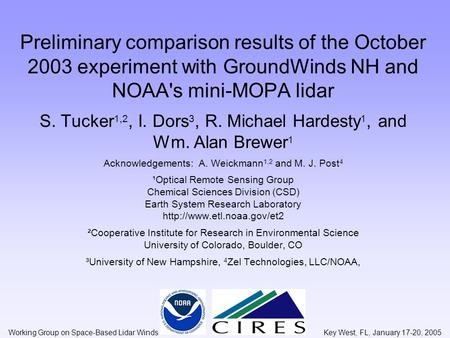 Preliminary comparison results of the October 2003 experiment with GroundWinds NH and NOAA's mini-MOPA lidar S. Tucker 1,2, I. Dors 3, R. Michael Hardesty.