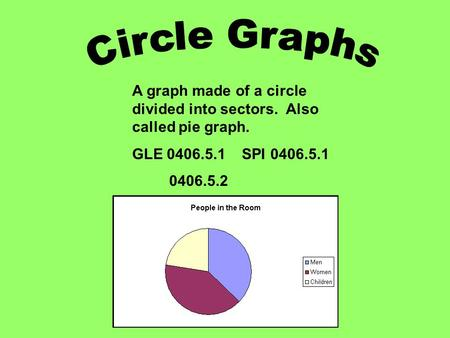 A graph made of a circle divided into sectors. Also called pie graph. GLE 0406.5.1 SPI 0406.5.1 0406.5.2.