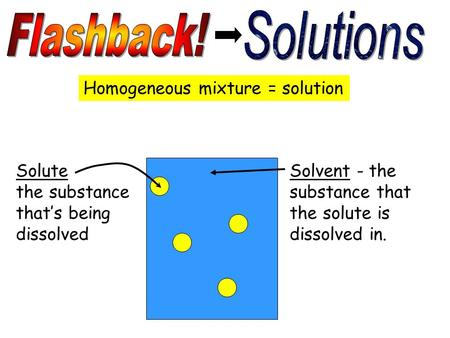 Homogeneous mixture = solution Solute the substance that's being dissolved Solvent - the substance that the solute is dissolved in.