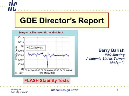 19-May-11 PAC Mtg - Taiwan Global Design Effort 1 Barry Barish PAC Meeting Academia Sinica, Taiwan 19-May-11 GDE Director's Report Grooved Insert for CesrTA.