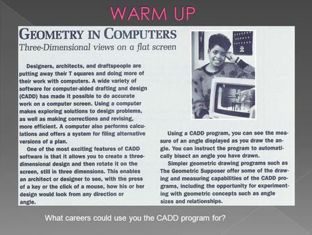 What careers could use you the CADD program for?.