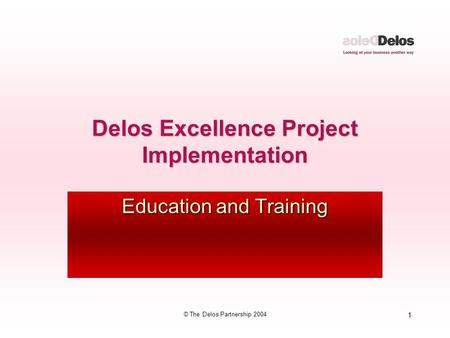 1 © The Delos Partnership 2004 Delos Excellence Project Implementation Education and Training.