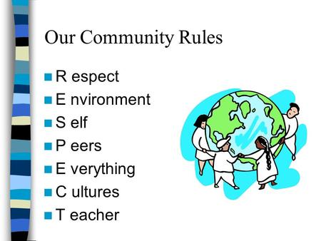 Our Community Rules R espect E nvironment S elf P eers E verything C ultures T eacher.