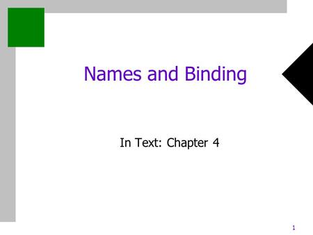 1 Names and Binding In Text: Chapter 4. 2 Chapter 4: Names and Binding Outline Names/Identifiers Binding Type Checking Scope.