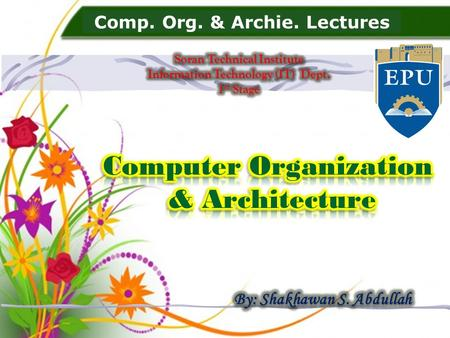 Comp. Org. & Archie. Lectures. 2 history.ppt 21-Jan-03.