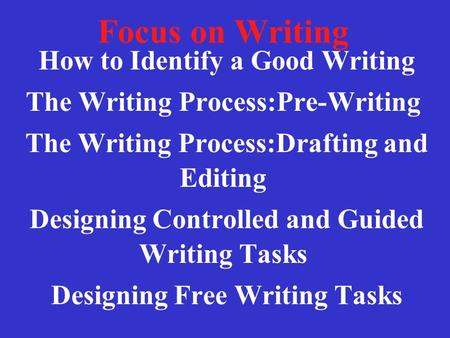 Focus on Writing How to Identify a Good Writing The Writing Process:Pre-Writing The Writing Process:Drafting and Editing Designing Controlled and Guided.