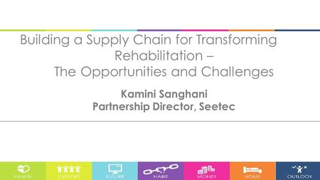 Building a Supply Chain for Transforming Rehabilitation – The Opportunities and Challenges Kamini Sanghani Partnership Director, Seetec.