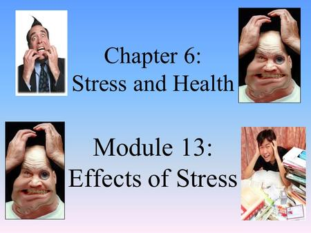 Chapter 6: Stress and Health Module 13: Effects of Stress.