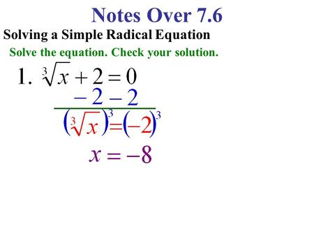 Notes Over 7.6 Solving a Simple Radical Equation Solve the equation. Check your solution.