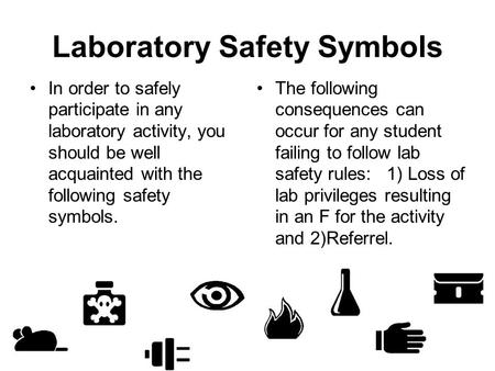 Laboratory Safety Symbols In order to safely participate in any laboratory activity, you should be well acquainted with the following safety symbols. The.