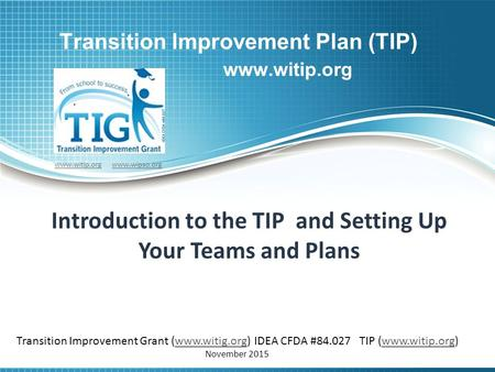 Transition Improvement Plan (TIP) www.witip.org Introduction to the TIP and Setting Up Your Teams and Plans www.witip.orgwww.witip.org www.wipso.orgwww.wipso.org.