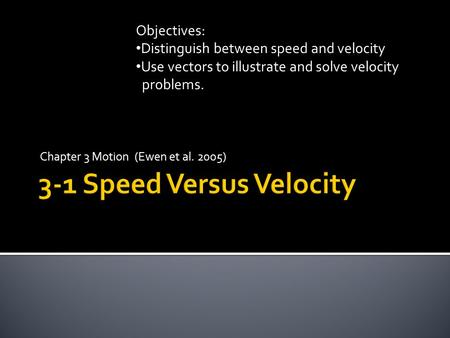 Chapter 3 Motion (Ewen et al. 2005) Objectives: Distinguish between speed and velocity Use vectors to illustrate and solve velocity problems.